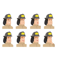 set of firefighter characters vector image