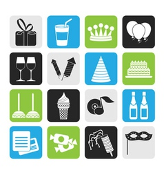 Silhouette birthday and party icons vector