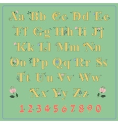 Summer country floral font ethnic alphabet vector