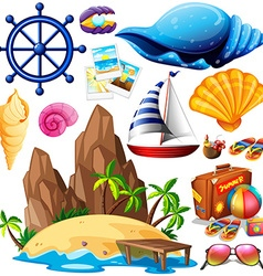 Summer theme with island and beach items vector
