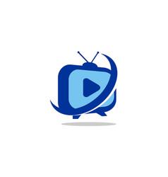 tv station logo vector image