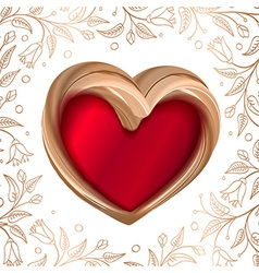 Valentines background abstract golden heart on red vector