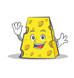 Waving cheese character cartoon style vector