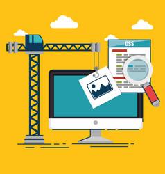 website under construction background vector image
