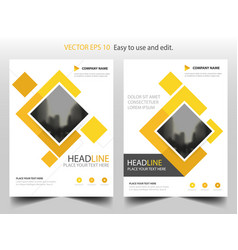 yellow square business brochure leaflet flyer vector image