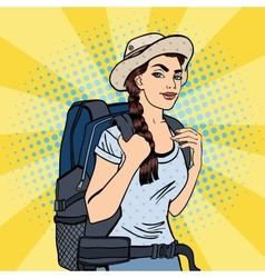 Young woman with backpack pop art vector