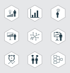 Set of 9 administration icons includes planning vector
