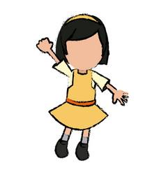 Girl school student cartoon young cheerful cartoon vector