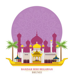 bandar seri begawan brunei with decoration vector image