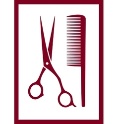 comb scissors silhouette - hair care icon vector image