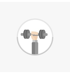 Hand with dumbell round icon sport fitness vector