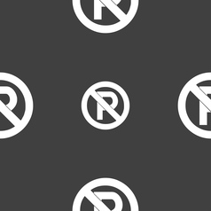 No parking icon sign Seamless pattern on a gray vector image