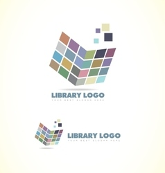 Library open book logo icon vector