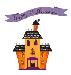 Halloween card with haunted house vector