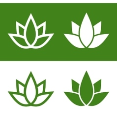 Green lotus plant icon set logo vector