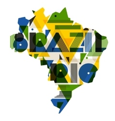 Brazil and rio with map in abstract geometric vector