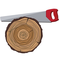 Tree and hand saw vector