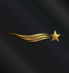 Gold star waves vector image