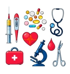 Set of medical icons isolated color sketch vector