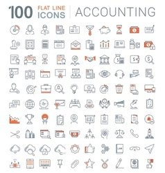 Set flat line icons accounting and finance vector