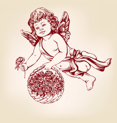 Angel or cupid little baby fly and gives flowers vector