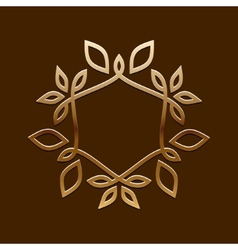 Antique golden designline art logo vector