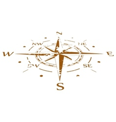 Brown grunge compass compressed vector image vector image