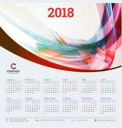 Calendar for 2018 year design template week vector