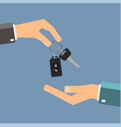Car rental or sale concept hand of agent holding vector