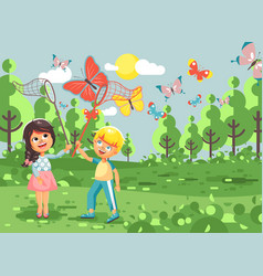 Cartoon character two children vector