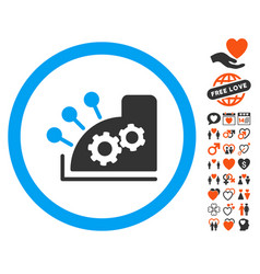 Cash register icon with love bonus vector