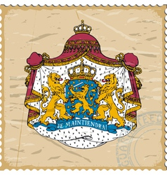 Coat of arms of Netherlands on postage stamp vector image