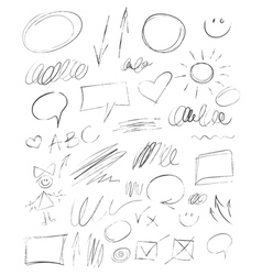 Collection hand-drawn pencil elements vector