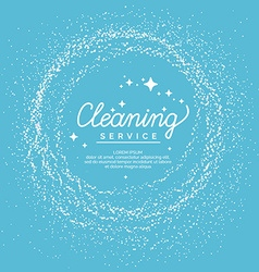 Conceptual poster and the logo for cleaning linear vector