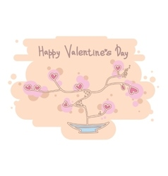 Cute heart tree happy valentines day design vector