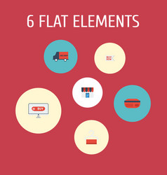 Flat icons bus shop shopping and other vector
