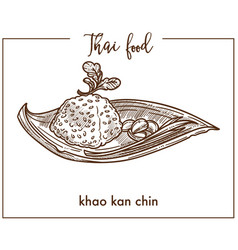 Khao kan chin from traditional thai food vector