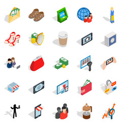 marketing icons set isometric style vector image