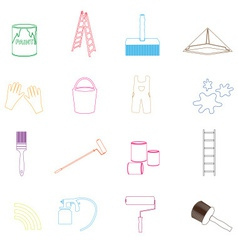 Paint and room painter outline icons set eps10 vector