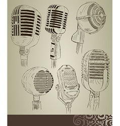 Retro microphone set vector image