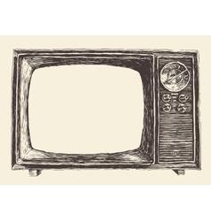 Retro Television Empty Screen Hand Drawn vector image