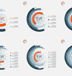 Set of circle infographic templates 3-8 options vector