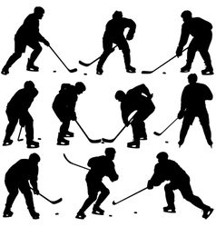 Set silhouettes of hockey player Isolated on vector image vector image