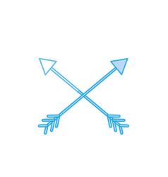 Silhouette arrows in cross with pointer design vector