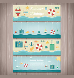 Summer holidays banner collection holydas and vector