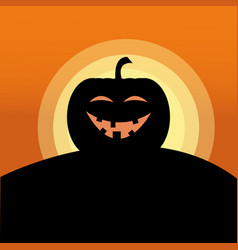 Sunset jack o lantern smile vector