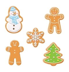 Sweet decorated new year gingerbread cookies icons vector image