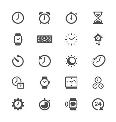 time and clock glyph icons vector image vector image