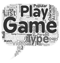 Types of video games text background wordcloud vector