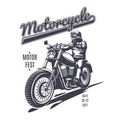 Vintage moto fest logotype template vector